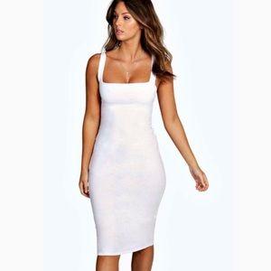 Boohoo White Bodycon Midi Dress